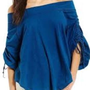 Free People Off Shoulder Ruched Sleeve Top S